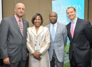 W. Dave Dowrich, VP of Investment at Goldman Sachs, 2nd from r., with Chairman of the CTO, Ricky Skerritt, l; Minister Minors of Bermuda, 2.d from l., and Brian Lilly, r., CEO of Lilly Broadcasting and owner of WSEE TV and One Caribbean Weather, premier sponsors of the event. (Sharon Bennett image)