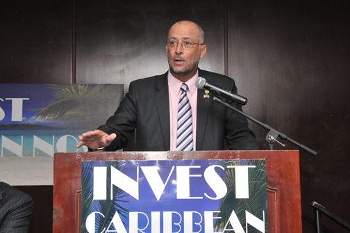 CTO Chairman and minister of tourism of St. Kitts/Nevis, Senator Ricky Skerritt, addressing the 2012 Invest Caribbean Now forum. (Sharon Bennett image)
