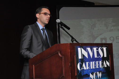 Jay Yeo, President of Solamon Energy, addressing the 2012 Invest Caribbean Now power forum on June 6th in NYC. (Sharon Bennett image)