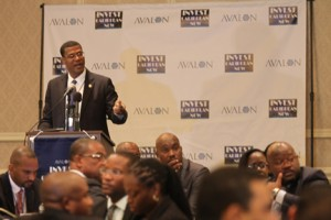 Premier Dr. Rufus Ewing, of the Turks & Caicos Islands, shares investment opportunities in his island at the Avalon Invest Caribbean Now 2013 forum in New York City on June 5, 2013. (Hayden Roger Celestin image)