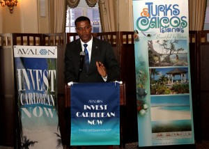 Turks & Caicos Premier Dr. Rufus Ewing addressing guests at the TCI sponsored  Avalon ICN VIP party on June 4, 2013. (Hayden Roger Celestin image)