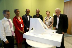 """: Judges, Rodney Leon (standing, third from left) and the """"Ark of Return,"""" the winning design for the United Nations Permanent Memorial in Honor of the Victims of Slavery and the Transatlantic Slave Trade. (Photo: DPI/the U.N.)"""