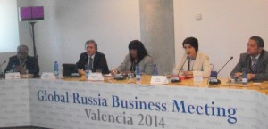 PHOTO: Invest Caribbean Now's Sheila Newton-Moses, centre, at the Global Russia Business Meeting in Valencia, Spain on April 7, 2014. (ICN Photo)