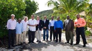 Sir Richard Branson (with sandals) and Caribbean leaders following the Carbon War Room's '10 Island Renewable Challenge on Feb. 10, 2014. (CWR image)