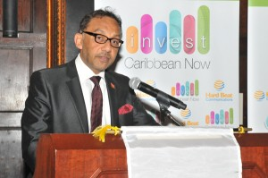 Trinidad & Tobago Minister of Trade, Industry, Investment and Communications, Senator Vasant Bharath addressing delegates at Invest Caribbean Now. (Sharon Bennett/ICN image)