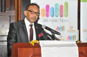 Trinidad & Tobago Minister of Trade, Industry, Investment and Communications, Senator Vasant Bharath addressing delegates at Invest Caribbean Now. (Sharon Bennett/ICN image)