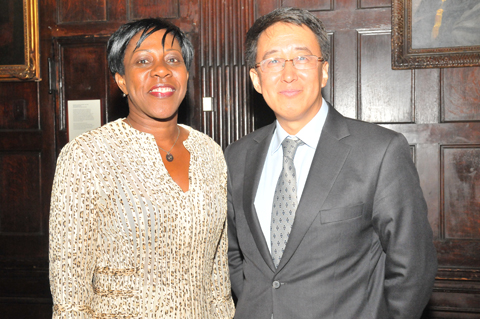 Hon. Jeanne Rogers-Vanterpool, Présidente, Office de Tourisme de Saint-Martin, l, at ICN 2014 with Larry Lee, President of China Daily USA. (Sharon Bennett/ICN image)