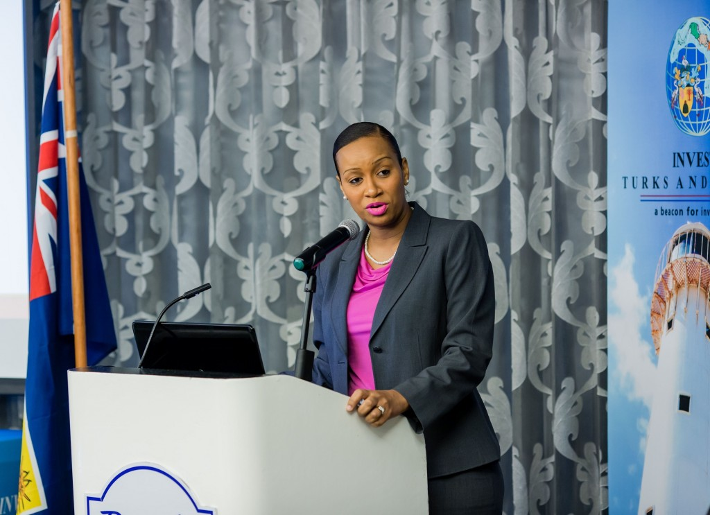 HE Deputy Governor of the Turks & Caicos, Anya Williams, addressing delegates at Invest Turks and Caicos 'Enhancing National Competitiveness Conference' on September 1, 2016. (Invest Turks and Caicos Image)