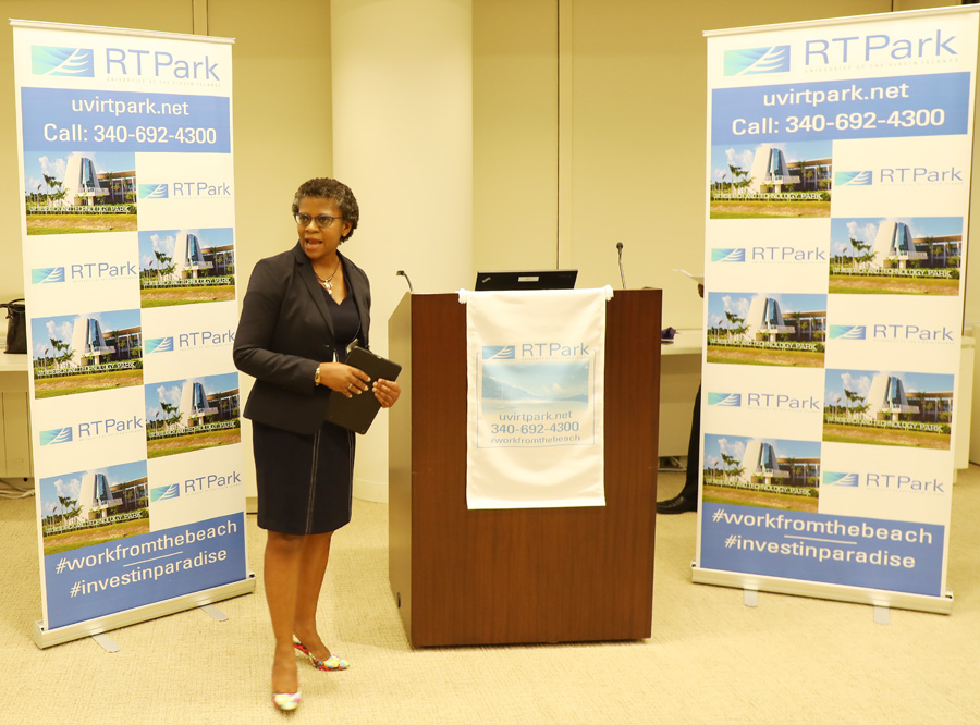 Dr. Gillian Marcelle, executive director of the Virgin Islands' Specialist Economic Development Agency, the UVI RTPark, addressing VIP guests at the June 7th Investment Shocase in NYC.